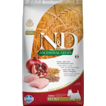 N&D Dog Ancestral Grain csirke, tönköly, zab&gránátalma adult mini 2,5kg