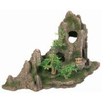 Akvárium Dekor Kerámia Sziklák Barlanggal És Műanyag Növény