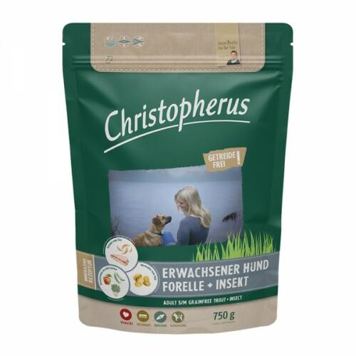 Christopherus Dog Adult Grainfree Pisztráng és rovar Small&medium 750g