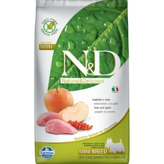 N&D Dog Grain Free vaddisznó&alma adult mini 7kg