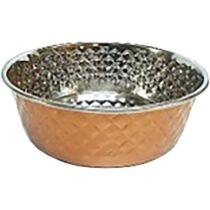 Tál fém etető aranysárga réz gyémánt mintás, nehezített 21cm, 1,6l