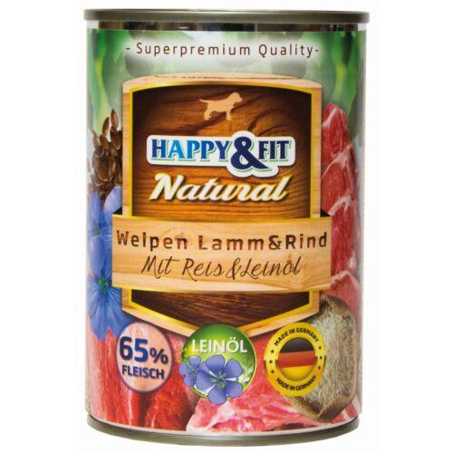 Happy&Fit Natural Welpen Lamm&Rind mit Reis&Leinöl 400g